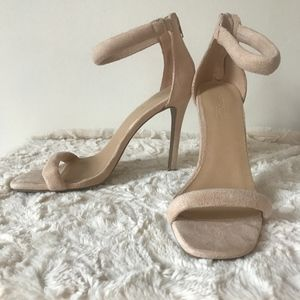 Nude Faux Suede Strappy High Heels Size 8